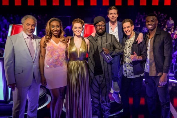 Lucy with Will.I.am and other teams at The Voice Semi Finals